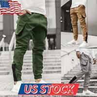 Men Contrast Cargo Pants Casual Sweatpants Pocket Loose Combat Trousers Overalls