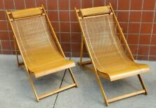 Vintage 1940s Japanese Bamboo Wood Loungers Deck Chairs -Set of 2