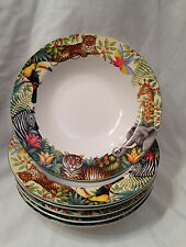 Set Of 6 Sakura Jungle Animal Pattern Cereal/Soup Bowls By Stepanie Stouffer