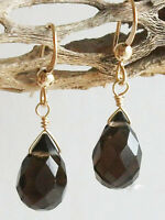 SMOKY QUARTZ GEM STONE FACETED Briolette 14k GOLD FILLED DROP EARRINGS by AnnTig