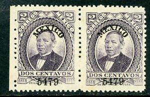 Mexico 1879 Juarez 2¢ Violet Mexico Thck Paper MNH Pair MX716