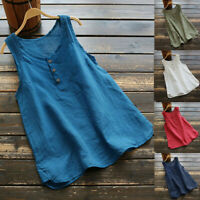 Vintage Women Sleeveless Solid Casual Linen Vest Tops Tee Loose Blouse Plus Size