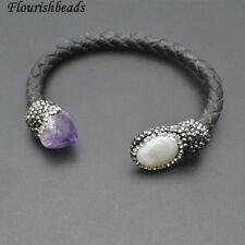 Natural Pearl and Amethyst Beads Real Black Leather Cord Cuff Bangle Jewelry