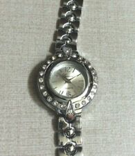 Geneva Women's Crystal Watch Round Silver Dial on Silver Linked Band New Style!