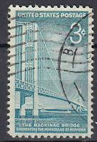 USA Briefmarke gestempelt 3c The Mackinac Bridge Michigan Rundstempel / 2118