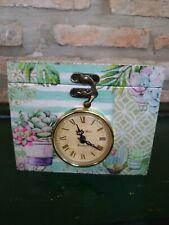 Caja Decoupage Floral Con Reloj