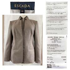 ESCADA EUR 44 US 14 Taupe Wool Cashmere Stand Collar Hook Blazer Jacket EUC