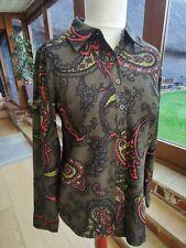 Denim & Co (Qvc) Paisley Print Blouse Shirt Xs 8/10/12