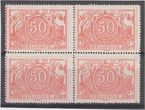 Belgium - 1892 Railway Stamps Mint Block Scott #Q11 CV $290  (2 scans)