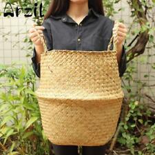 Straw Storage Basket Seagrass Wicker Hanging Flower Pot Storage Organizer Retro