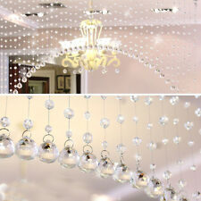 New 1M Clear Glass Crystal Beads Drapes Partitio Bedroom Hanging Curtain String