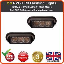 2 x TIR3 LED 12V 24V Amber Strobe Flashing Lights Recovery Lightbar Beacon Truck