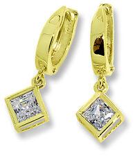 Dangle Earrings 14k Yellow Gold Princess Cut CZ's