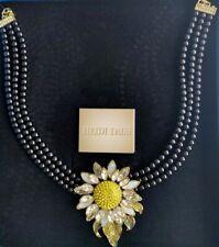 "Heidi Daus ""Divine Miss Daisy"" 3-Strand Beaded Daisy Pendant Drop Necklace NIB"