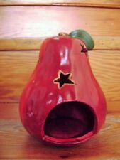 @Vintage@ Christmas Tealight Apple Red Ceramic 6 11/16in