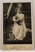 Toddler Child With Cat GOOD MORNING 1907 Marshall Minn to Iowa Postcard F13