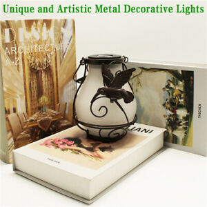 Retro Garden Solar Metal Flame Lantern Hanging Lamp Lighting Outdoor Pathway