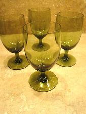 "Barware Set of 4 Cordial Glasses Green Glass Stem Vintage 4.5"" Tall  Vintage #25"