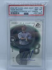 2002 SP Game Used Golf Course Of A Champion Tiger Woods Signed Auto #/18!PSA 8!