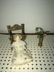 Antique Vintage Bisque Dollhouse Doll Frozen Charlotte And Small French Chair
