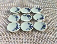 5 Dollhouse Miniature Plate Dishes Flower Side Porcelain Ceramic Food Plates