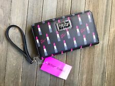 BETSEY JOHNSON Zip Around Wallet Lipstick Print Saffiano Faux Leather Wristlet