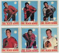 1970-71 O-Pee-Chee Chicago Black Hawks 6 Card Team Set G to EX (031220)