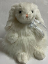"""Ty Classic White """"CASHMERE"""" 12""""EASTER Bunny Rabbit Blue Eyes Long Fur Vintage"""