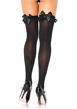 Sexy Leg Avenue Black Opaque Thigh-High Stockings w Lace Ruffle and Black Bow