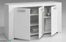 Kit Credenza Buffet Mobile Basso 3 ante 3 ripiani 144x42xh80 Cm Bianco Lucido