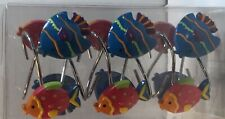 New-Set Of 12 Fish Shower Hooks Bath In Style Blue, Red, Orange Silver Rings