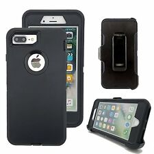 For NEW iPhone 7 PLUS Defender Outer Series Case w/Clip & Screen Protector BLACK