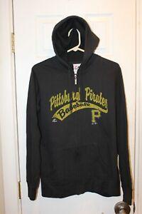 black Pittsburgh Pirates full-zipper distressed graphic ladies sweatshirt - XL