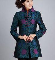 blue Charming Chinese Women's silk/satin style evening jacket /coat Sz:M to 3XL