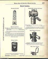 1908 ADVERT Breckenridge Acetylene Gas Bicycle Lamps Light Weight Oil Lantern