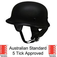 German style skull cap helmet  open face Matt black Gloss Carbon 5 tick NEW