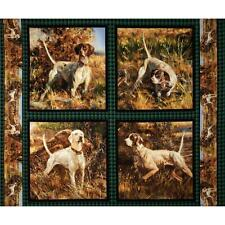 Dogs Cushion Panels Cotton Quilting Fabric - 4 Panels - Wild Wings Point North