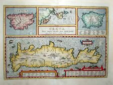 1603 Ortelius Map CRETE + Sardinia Corsica & Greek Islands Scholarly, Decorative