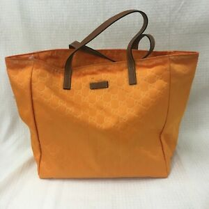 Auth Gucci GG tote bag nylon orange from Japan 0510*1387