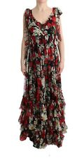 Dolce & Gabbana Dress Silk Floral Shift Long Maxi Gown It36 / Us2 /xs