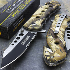 "7.75"" TAC FORCE CAMO SPRING ASSISTED FOLDING KNIFE Blade Pocket Tactical Open"