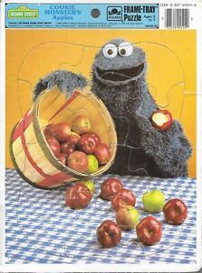 Vintage jigsaw puzzle frame tray Sesame street cookie monster apples 1986 USA