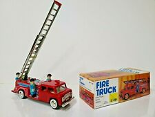 French MF 718 Vintage Style Fire Engine Truck Ladder Friction Siren Tin Toy *New