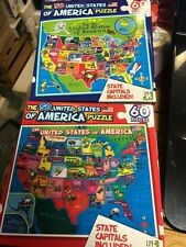 2 Different Usa Puzzles 60 Pieces Each Great For Learning