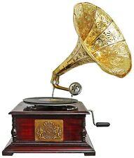 Grammophon Gramophone Dekoration Trichter Grammofon Messing Emblem Antik-Stil