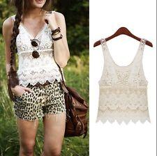 Vintage Lace Boho crochet tunic vest holiday party hippi gypsy festival beach BN