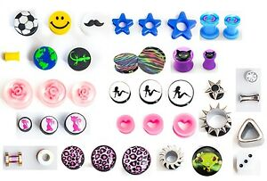 10 x Ear plugs tunnels flesh double flare, all different,  Choice of size, IN UK