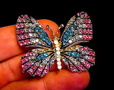 High End BUTTERFLY BROOCH Vintage Style RHINESTONE Pink Blue Collector Pin