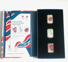 LONDON 2012 OLYMPIC TEAM GB AND PARALYMPICS GB 3 X  STERLING SILVER INGOT SET