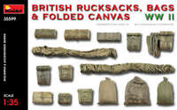 British Rucksacks Bags Folded Canvas WW2 WWII 1 :3 5 Plástico Modelo Kit Miniart